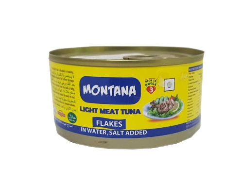 MONTANA LIGHT MEAT TUNA FLAKES IN SALT WATER 185 GM
